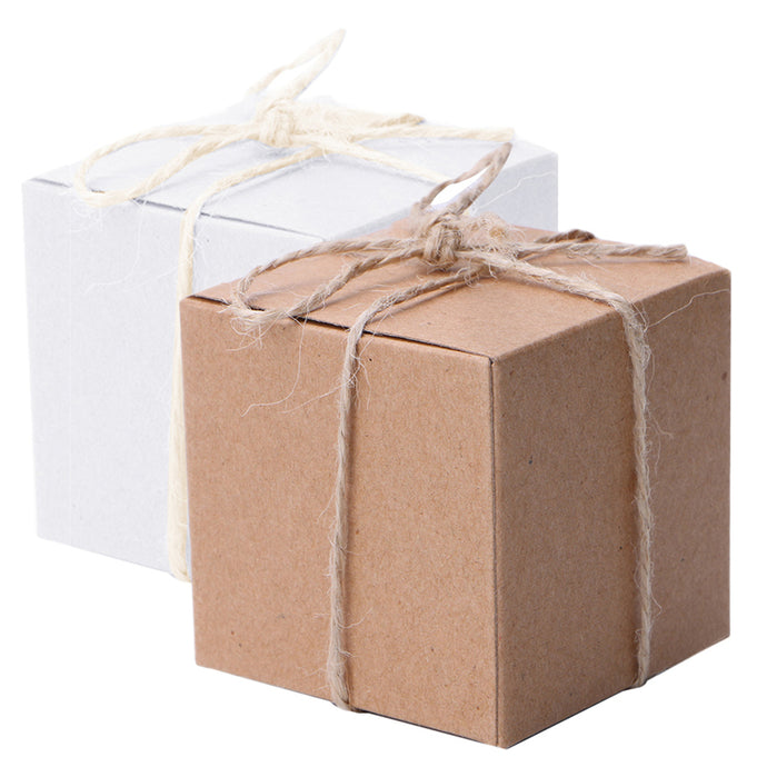 50pcs Kraft Paper Candy Box Square Shape Wedding Favor Gift Party Supply Packaging Bag with Burlap Twine Chic - 64 Corp