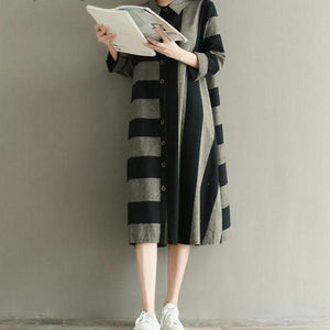 Artsy Turn Down Collar Long Sleeve Striped Loose Retro Shirt Dress - 64 Corp