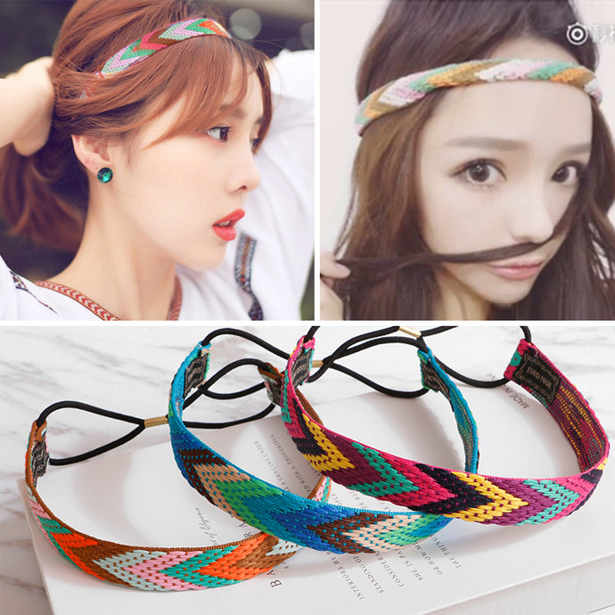 MISM Ethnic Boho Embroidery Headbands For Girls Women Vintage Hair Accessories Braid Elastic Hair Band Bohemian Rubber Head Band - 64 Corp