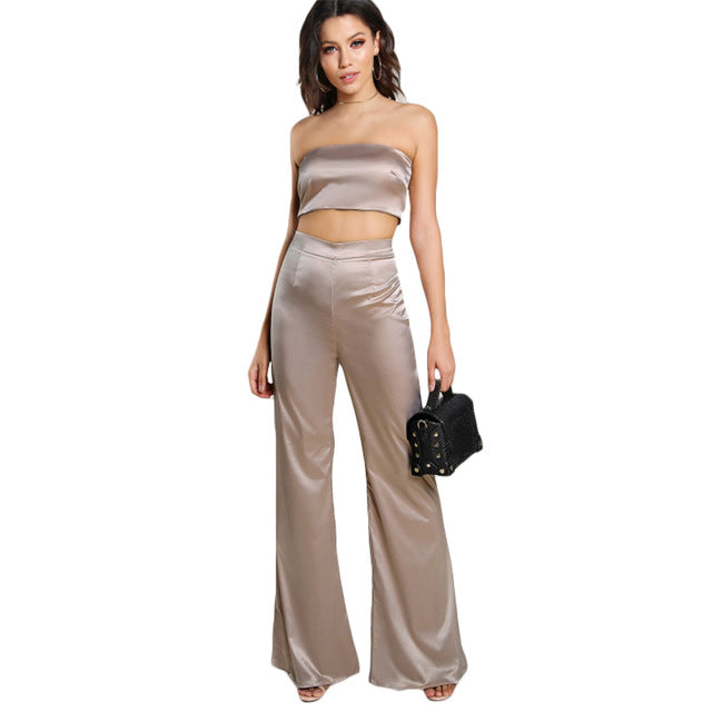 Strapless Satin Solid Bandeau Sexy Top and Matching Pants Set - 64 Corp