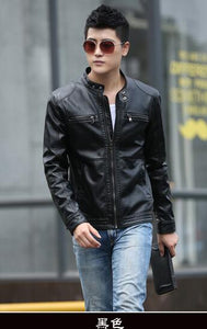Leather Jacket Men design stand collar Coat male casual motorcycle jacket Mens fashion veste en cuir leather jackets