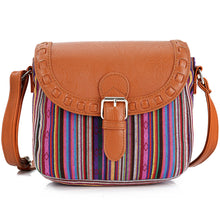 2017 Vintage Purple Stripe Boho Aztec Tribal Female Clutch Women Crossbody Bag Ladies Shoulder Bag with PU Leather Messenger Bag - 64 Corp
