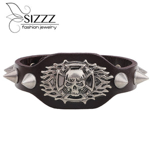 New Arrival Wide Leather Bracelet Retro Cuff Rope Cowboy Rider Harley Motor Cycles Punk Skull Rivet Men Bracelets - 64 Corp