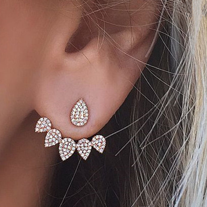 Fashion Drop Crystal Stud Earrings Double Side for Women Bridal Wedding Party Jewelry - 64 Corp