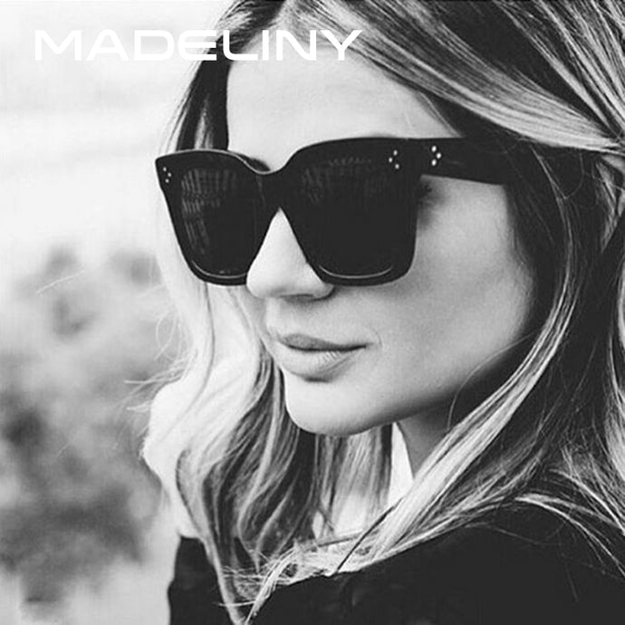 MADELINY Fashion Sunglasses Women Vintage Brand Design Square Luxury Sun glasses Big Frame Shades Eyewear Oculos UV400 MA033 - 64 Corp