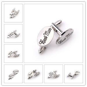 13 Style Men's Fashion Silver Oval Wedding Jewelry Cufflinks Groom/Best Man/Best Friend French Shirt Cuff Links High Quality - 64 Corp