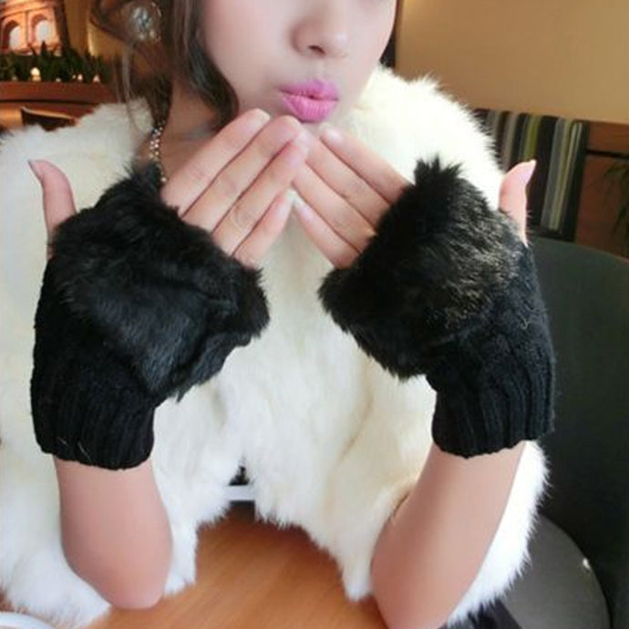 1Pair Fashion Women Winter Knitted Fur Keep Warm Woolen Solid Color Fingerless Gloves - 64 Corp
