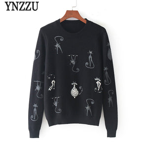 2017 New Winter Women Christmas Sweater Cat Print Pearl Beaded Luxury Pullover Women Knitted Wool Jumper Female Tops AT124 - 64 Corp