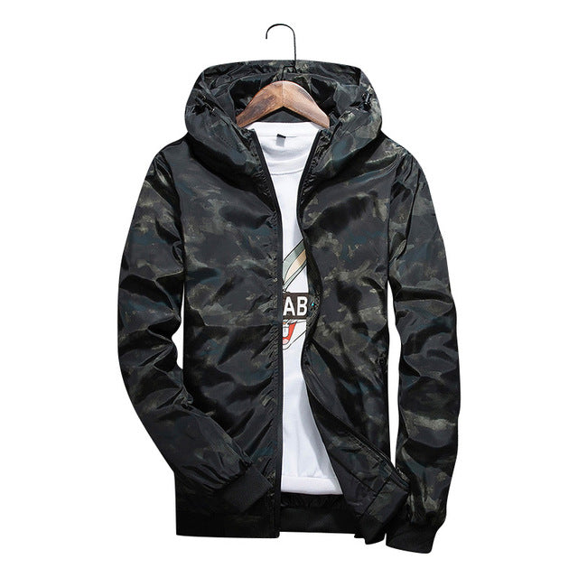 2018 Men's Spring Summer Hood Jackets Fashion Camouflage Print Waterproof Windbreaker Casual Bomber Jacket Coat Outwear Chaqueta - 64 Corp