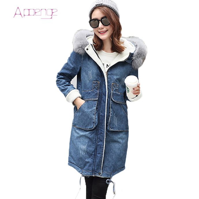 APOENG Women Winter Denim Jacket 2017 New Long Jeans Cotton Coats Female Hooded  Outerwear Fox Fur Collar Cowboy Parkas LZ570 - 64 Corp