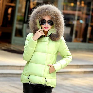 Women Fur Collar Hooded down Jacket cold weather winter warm cotton coat fashion casual warm hooded jacket snow overcoat coat - 64 Corp