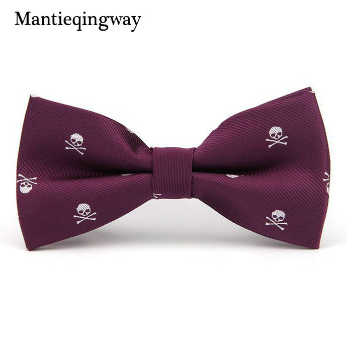 Mantieqingway Novelty Men's Polyester Silk Bow Tie Skull Bowtie for Tuxedo Banquet New Design Bowknot Ties for Wedding Groom - 64 Corp