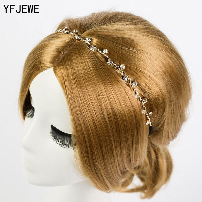 YFJEWE Free Shipping Women Hair Accessories Crystal Chain Charms Head Bands Women Jewelry Wedding Bridal Hair Jewelry H008 - 64 Corp