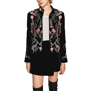 black short Women jacket 2017 chic pattern Floral Embroidery long sleeve Casual Bohemia brand female jacket Outerwear & Coats - 64 Corp
