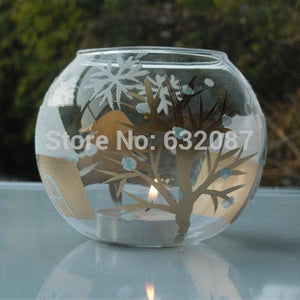 Diameter = 12cm Glass Candle Holder European Painting Style Glassware Wedding Decoration Christmas Day Decoration Glass Ornament