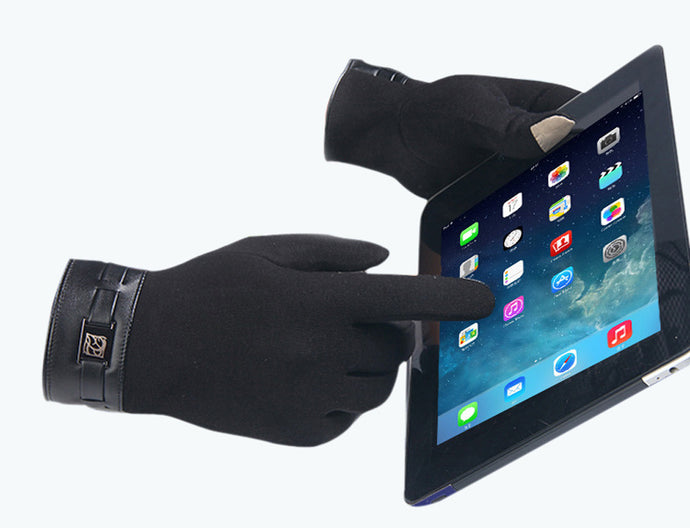 Winter Mens Full Finger Smartphone Touch Screen Cashmere Gloves - 64 Corp