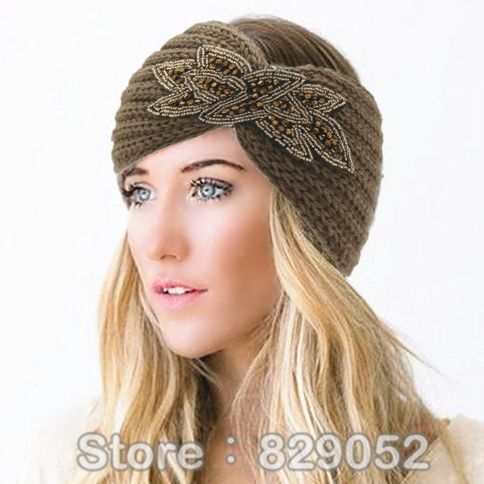 Women's Beaded Knitted Wool Headbands Boho Flower Turban Head Wrap Bandage Winter Ear Warmer Girls Hairband Hair Accessories - 64 Corp
