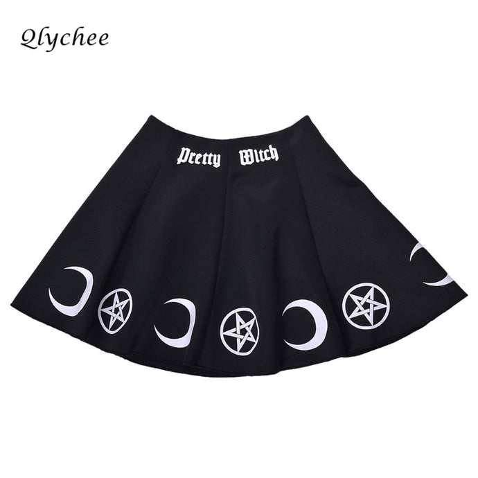 Qlychee Vintage Witch Moon Star Print Retro Skirt Women Sexy High Waist Mini Skirt Punk Goth Style Sweet A-line Skirt Female - 64 Corp