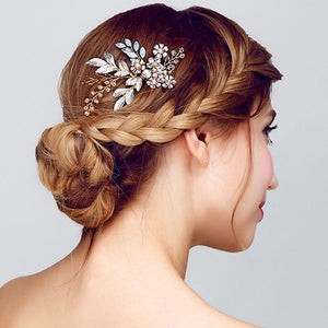 Women Lady Hairpin Hair Comb Clip Floral Head Piece Crystal Flower Bride Hair Pins Wedding Bridal Hairs Accessories Gift KQS8 - 64 Corp