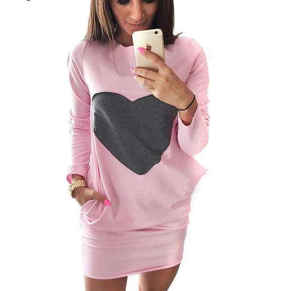 Heart Dresses for Women mini sweatshirt dress female jacket Long Sleeve Double Pocket Women Clothes Bodycon Dress ropa mujer - 64 Corp