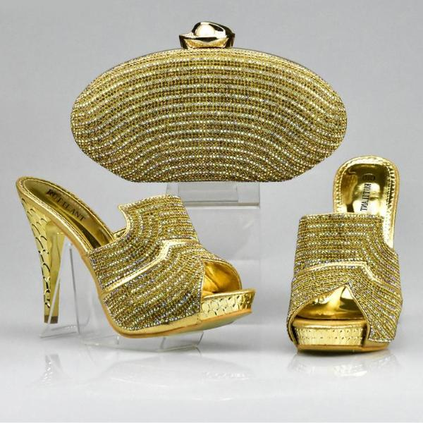 Gold Color Shoes and Bag Set - 64 Corp