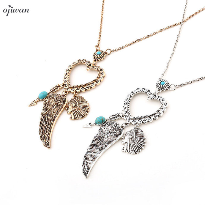 Ojiwan Tibetan Indian Native American Necklace Boho Hippe Chic Arrowhead Wing Necklace Cowgirl Ethnic Gypsy Jewelry Navajo - 64 Corp