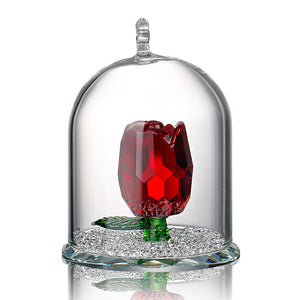 H&D X'mas Gifts New Beauty and the Beast Rose Glass Crystal Enchanted Rose in Terrarium Valentines Day Souvenir Lover's Gift - 64 Corp