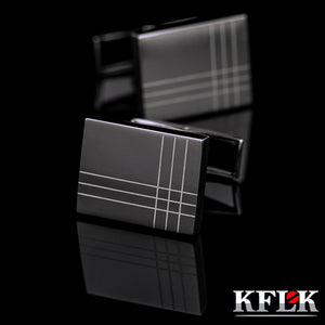 KFLK Jewelry French Shirt Fashion Cufflinks for Men's Brand Cuff links Buttons Black High Quality Free Shipping 2017 New Arrival - 64 Corp