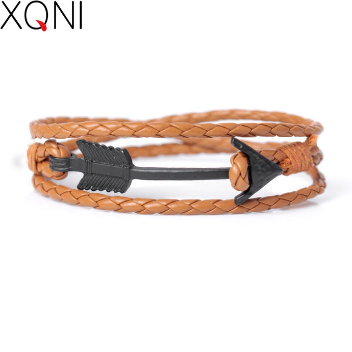 New Fashion Cowboy series Bandage Leather Bracelets For Men Women Vintage Knight Courage Bandage Arrow Charm Bracelet Jewelry - 64 Corp