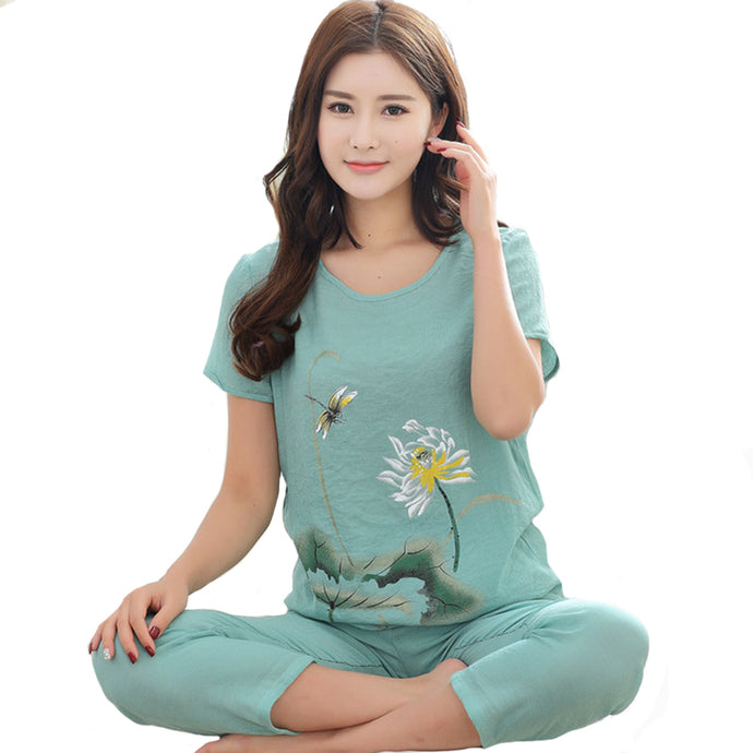 Pyjamas Suit Flower Nightwear - 64 Corp
