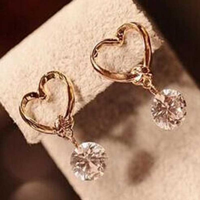 FAMSHIN 1pcs New Fashion Stud  Jewelry Hot Sale Hollow Love Heart Fine Zircon Earrings For Woman Accessories Best Gift - 64 Corp