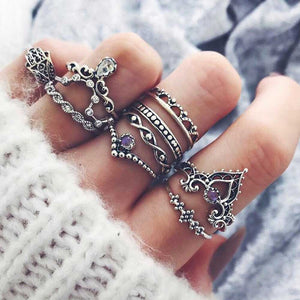 FAMSHIN Fashion 10Pcs/Set Bohemian Hollow Water Drop Pattern Vintage Crystal Beidou Seven Stars Fatima Hand Ring For Women gifts - 64 Corp