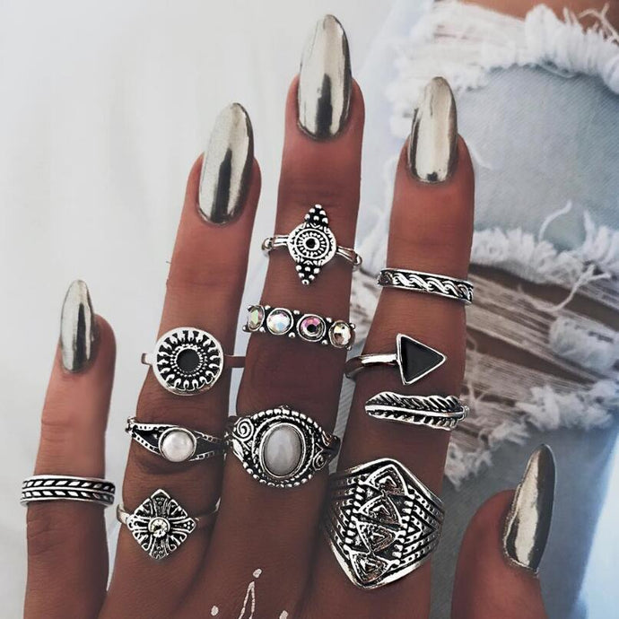 Meyfflin Vintage Knuckle Ring Set for Women Fashion Anel Aneis Bague Femme Stone Silver Midi Finger Rings Boho Jewelry 10pcs/Set - 64 Corp