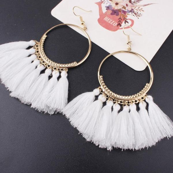Lacoogh 2017 Ethnic Bohemia Drop Dangle Long Rope Fringe Cotton Tassel Earrings Trendy Sector Earrings for Women Fashion Jewelry - 64 Corp