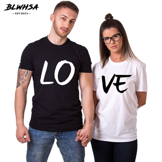 BLWHSA Lovers Couple Summer Funny Couple Women T Shirts Heart Love Printing Cool Men Short Sleeve Couple Boyfriend Clothing - 64 Corp