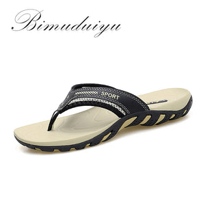 BIMUDUIYU 2017 Summer Fashion Mens Flip Flops Anti-slip Couple Handmade Word Drag Comfortable Classic Massage Beach Slippers - 64 Corp
