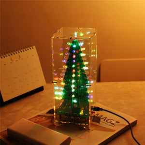 DIY Kit RGB Flash LED Circuit Kit Colorful 3D Christmas Trees Kit MP3 Music Box with Shell Christmas Gift Electronic Fun Suite