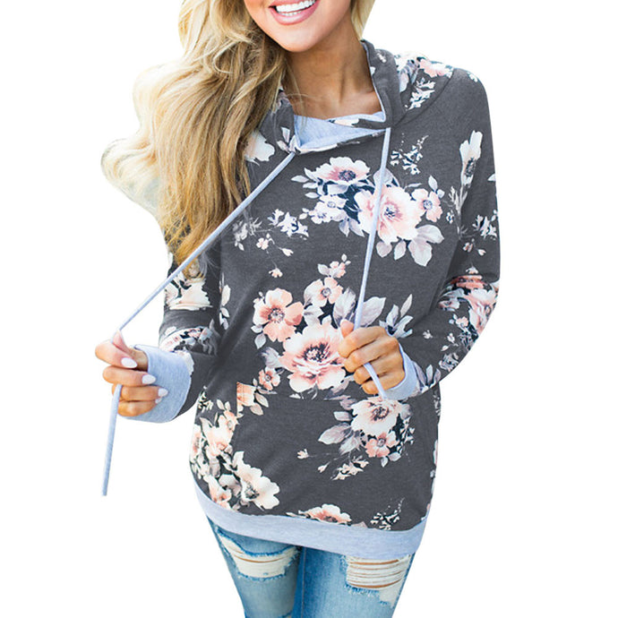 Women's Autumn Hoodie Sweatshirt Fashion Boho Floral Print Pullover Tops Women Long Sleeve Casual Hooded Pullovers Winter #YL - 64 Corp