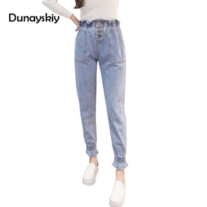 New High Waist Jeans Women Casual Loose Preppy Chic Denim Harem Pants Blue Black Elastic Jogger CowGirls Pant S-XXL Big Pockets - 64 Corp