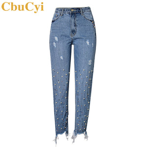 CbuCyi Fashion Jeans Women's Denim Pants High Waist Slim Straight Pearl Tassel Washed Cowboy Trousers Female Ankle-length Pants - 64 Corp