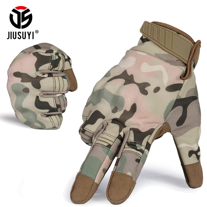 Touch Screen Waterproof Cold Weather Winter Warm Fleece Snowboard Bicycle Multicam Hard Knuckle Full Finger Gloves for Men Women - 64 Corp