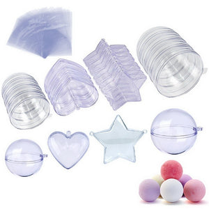 BAKHUK 20 Sets 3 Sizes DIY Bath Bomb Molds,Clear Plastic Christmas Ball Ornaments,Heart Ball Star Shape Reusable Handmade Molds