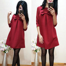 Women Elegant Spring Red Green Dress O-neck 3/4 Sleeve Casual Loose Dress - 64 Corp