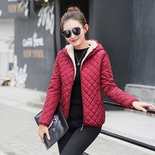 Autumn 2017 Parkas basic jackets Female Women Winter plus velvet lamb hooded Coats Cotton Winter Jacket Womens Outwear coat