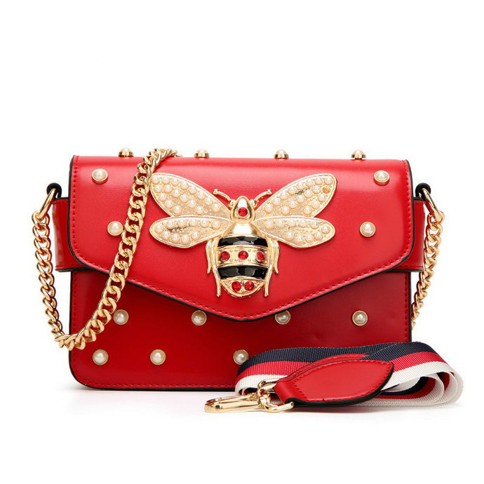 Fashion Women Messenger Bag New Brand Leather Female Shoulder Bag Luxury Diamond Little Bee Woman Handbags Strap Bags Pink Red - 64 Corp