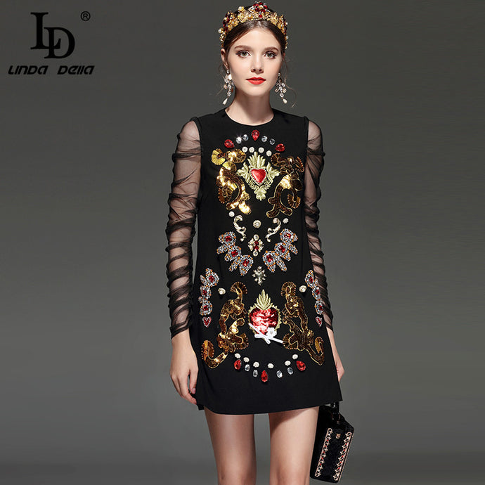 LD LINDA DELLA New 2018 Designer Runway Dress Women's Lace Long sleeve Luxury Embroidery Crystal Beading Sequin Vintage Dress - 64 Corp