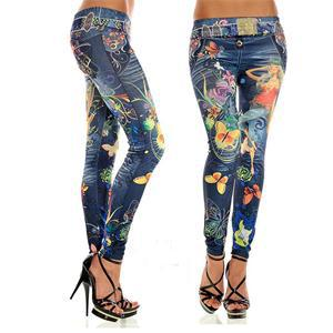 1pcs women leggings Imitation cowboy printed leggings Single yard fitness for women sexy ladies butterfly pants - 64 Corp