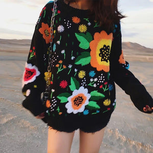 Boho Winter Sweater for Women Black Retro Vintage Runway Flowers Embroidery Sweater Warm Loose Knitted Jumper Womens Sweaters - 64 Corp