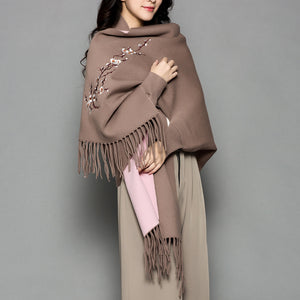 VOHIO winter scarf women female wool plum embroidered sleeve cashmere coat cloak thickening double sided air dual-purpose shawl - 64 Corp