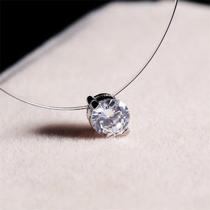 Choker Invisible Fish Line Crystal Necklace Pendants Neck Zircon Women Clavicle Chain Lady Feminino Collar - 64 Corp